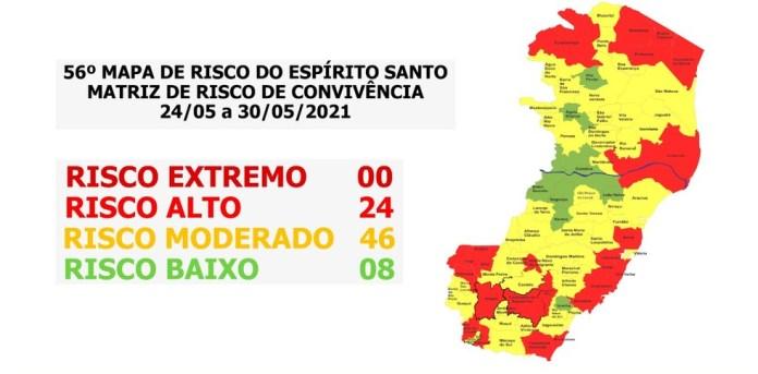 56º mapa de risco do ES — Foto: Divulgação/Governo do ES