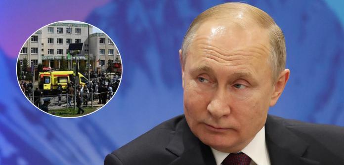 Presidente da Rússia, Vladimir Putin, e a polícia fazendo um cerco em escola alvo de tiroteio na cidade de Kazan