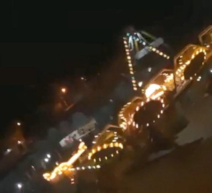 Adolescentes são arremessadas de brinquedo de parque de diversões em Nova Venécia, no ES — Foto: Reprodução/ TV Gazeta
