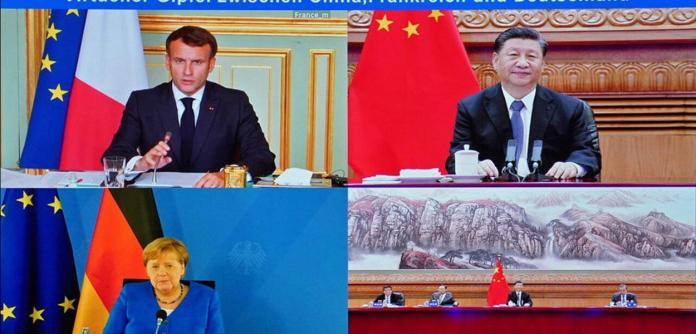 Videoconferência entre Xi Jinping, Emmanuel Macron e Angela Merkel