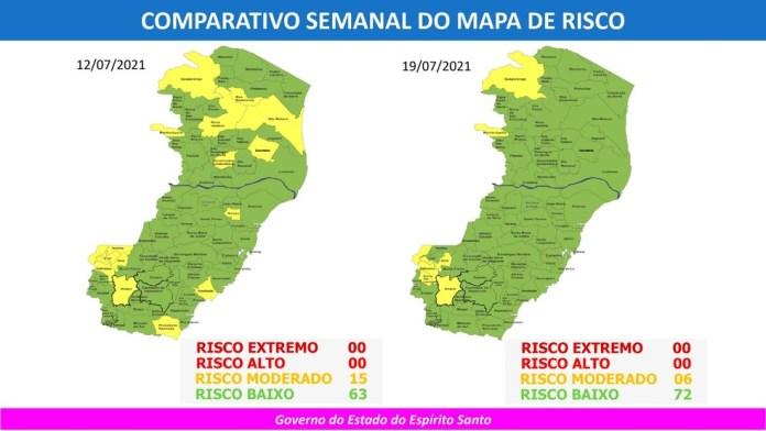 Mapa de Risco do Espírito Santo tem 72 municípios em risco baixo — Foto: Divulgação/ Governo do ES