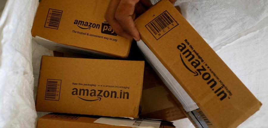 Pacotes com encomendas da Amazon