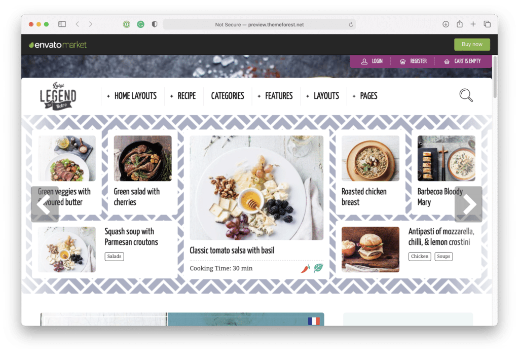 This image is a screen grab of the Neptune food blog preview.