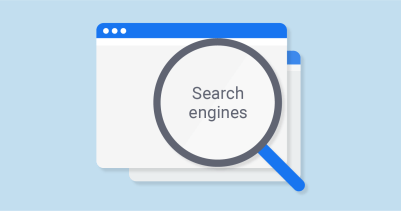 Pictured: a cartoon depiction of a search engine