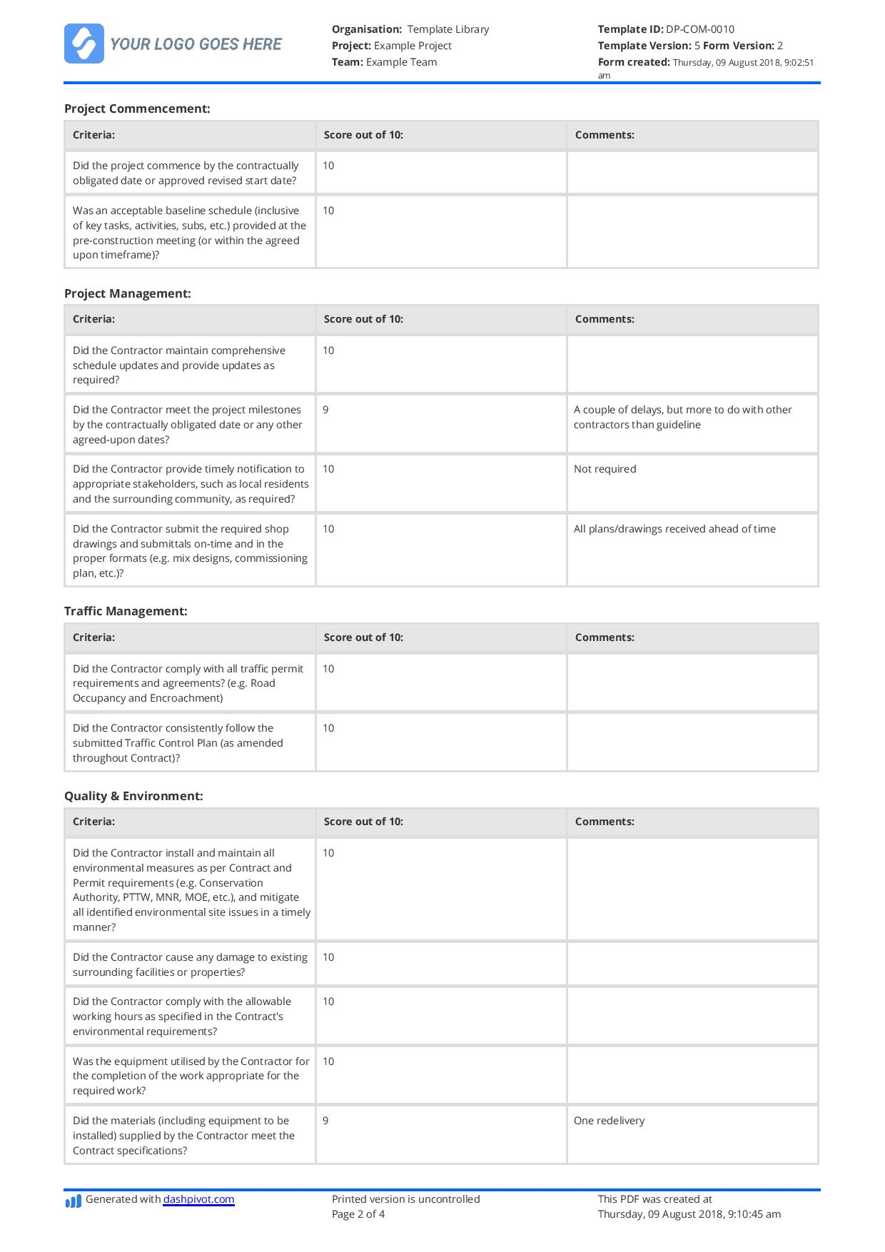 Contractor Performance Evaluation Template