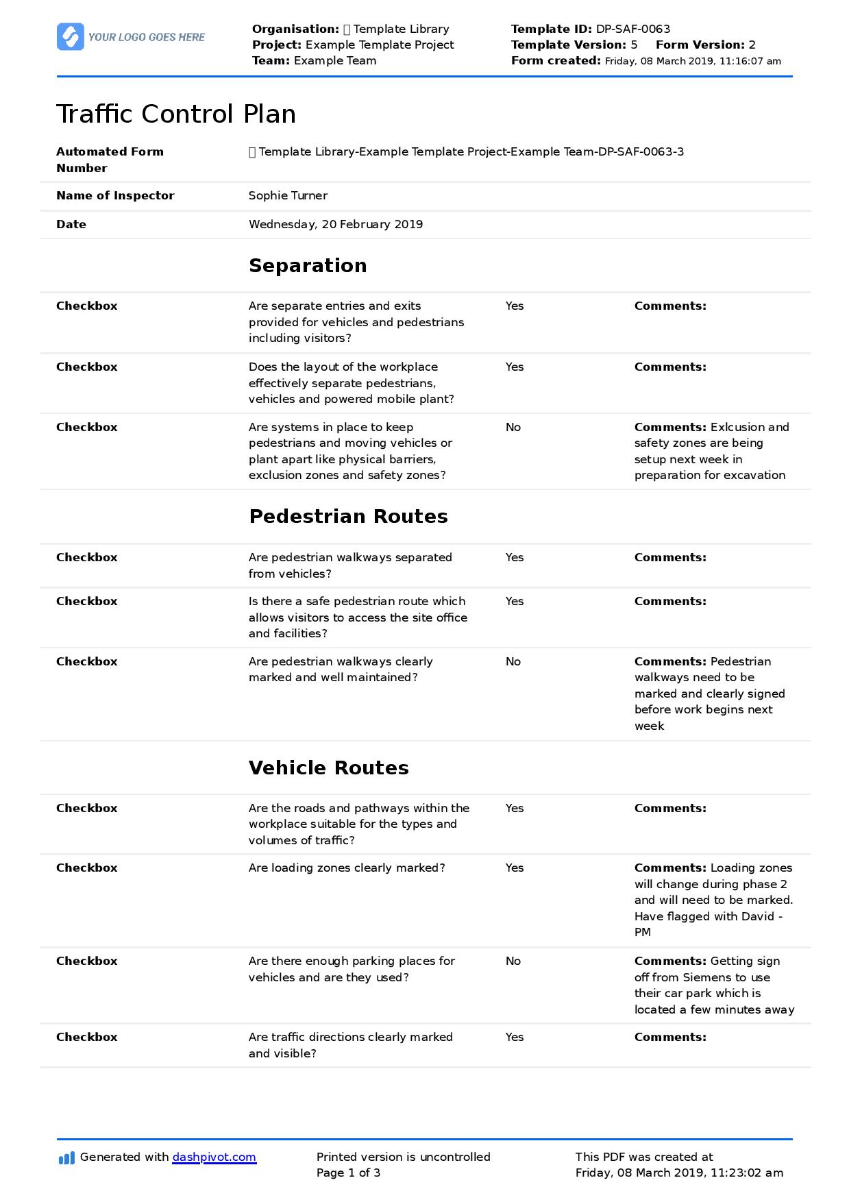 It is not intended to apply to all environments. Traffic Control Plan Template Free Template And Helpful Example