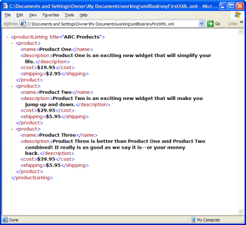 viewing xml file