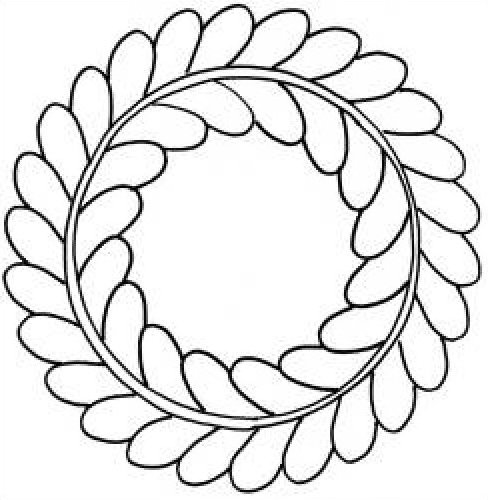 Quilt Pattern Stencil Feather Wreath 5 inch