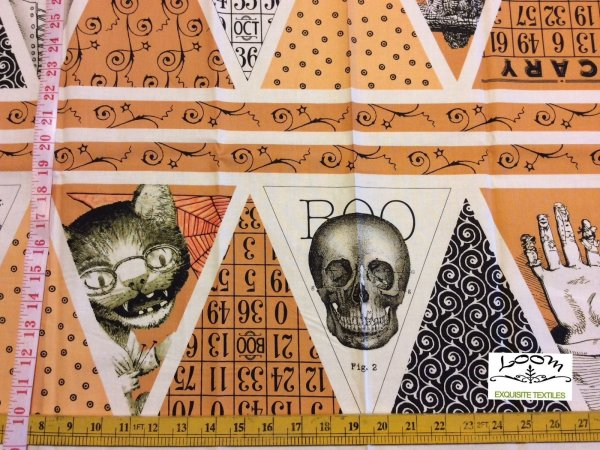Cutting Edge Fabrics - Skull Tattoo Steampunk And
