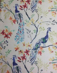 HM118 Peacock Blue Bird Watercolor Painting Upholstery ...