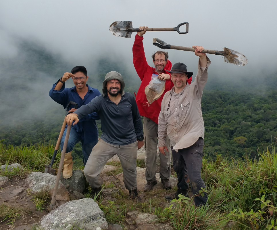 The team celebrates after 1.30 uphill Hike