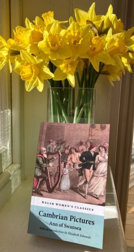 Photograph of daffodils and a copy of Ann Hatton's Cambrian Pictures (Honno, 2021), edited by Elizabeth Edwards