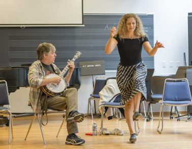 Colorado College alumna and accomplished musician Abigail Washburn with her husband, musician BŽla Fleck. Fleck and Washburn perform a piece for an informal gathering of students, faculty and staff in Packard Hall. Photo by Andy Colwell for Colorado College