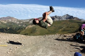 """Ted Kornish '17 shows off his """"parkour master"""" moves during New Student Orientation near Gunnison, Colo."""