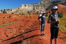 Sunita Miles '01, Karen Steen '78, Becky Foerschler '80, and her husband Matt hike the hills near Georgia O'Keeffe's home at Ghost Ranch in New Mexico.