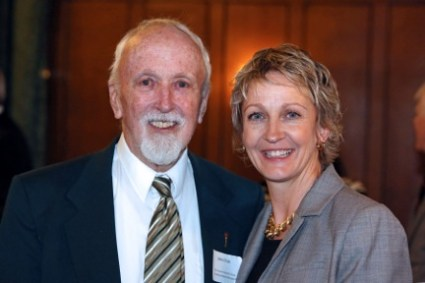 John Fish - the first recipient of the Livesay Award, with President Tiefenthaler