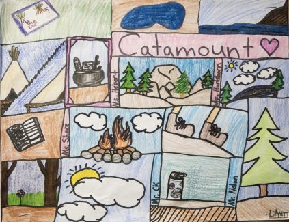 A drawing by one Columbine Elementary School student depicts their outdoor school experience at the Catamount Center.