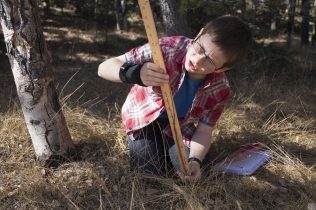 Columbine Elementary School fifth-grader Luke Hamlow measures a spruce sapling to record its height during a lesson when students discovered the differences between saplings and seedlings. Hamlow and other teammates then looked at their numbers and recorded findings about tree growth in the quadrants they studied at the Catamount Center.