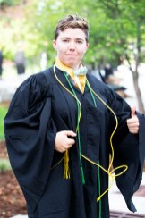 """Louisa Mackenzie asked her boss in ITS if they provided a cord for graduation. """"He handed me this ethernet cable and said 'There is your cord.' So I said I would wear it. I am also wearing the green cord for giving to the senior gift."""""""