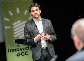 Jose Monge Castro '20 presents the need for water testing devices such as the one he and his partner are proposing during the pitch for Advanced Water Sensing. Four teams competed in the final round of the Big Idea, a startup competition hosted by Innovation @ CC on Feb. 7m 2019 in Celeste Theater. The competing teams were SaFire, Advanced Water Sensing, Momentix and Infinite Chemistry. The teams competed for $25,000. First place went to Momentix while Advanced Water Sensing took second place.