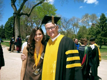 Voria and CC President Dick Celeste at CC graduation, May 2011