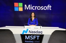 Voria representing Women@Microsoft when leaders of employee resource groups had the opportunity to ring the closing bell at NASDAQ. Voria's picture was featured on a billboard in Times Square, February 2019.