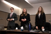 The defense rises during a mock trial practice on Tuesday, February 18, 2020 at the El Paso County Combined Courts. Colorado College hosts the regional mock trial tournament this weekend. (Photo by Katie Klann)