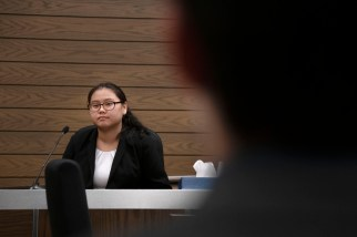 Anudari Sharivdorj, sophomore, takes the stand as a witness during a mock trial practice on Tuesday, February 18, 2020 at the El Paso County Combined Courts. Colorado College hosts the regional mock trial tournament this weekend. (Photo by Katie Klann)