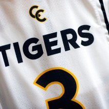 The new men's basketball jerseys hang in the locker room on Friday, February 7, 2020 at El Pomar Sports Center in Colorado Springs, Colorado. (Photo by Katie Klann)