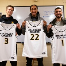 From left to right, Eric Jones, Cooxooeii Black, and Nabeel Elabdeia pose for a portrait with their jerseys on Friday, February 7, 2020 at El Pomar Sports Center in Colorado Springs, Colorado. (Photo by Katie Klann)