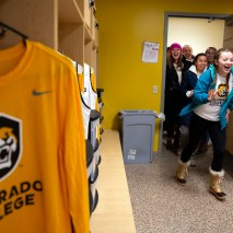 The women's basketball team walks into the locker room to see their newly redesigned jerseys on Friday, February 7, 2020 at El Pomar Sports Center in Colorado Springs, Colorado. (Photo by Katie Klann)