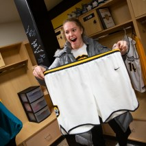 Talia Cloud holds her new basketball shorts on Friday, February 7, 2020 at El Pomar Sports Center in Colorado Springs, Colorado. (Photo by Katie Klann)