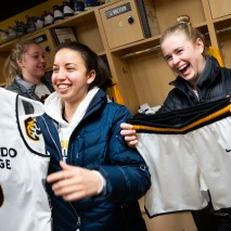 Jordan Meltzer, left, and Abby Walz show off their new uniforms on Friday, February 7, 2020 at El Pomar Sports Center in Colorado Springs, Colorado. (Photo by Katie Klann)