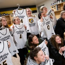 The women's basketball team poses for a photo with their new uniforms on Friday, February 7, 2020 at El Pomar Sports Center in Colorado Springs, Colorado. (Photo by Katie Klann)