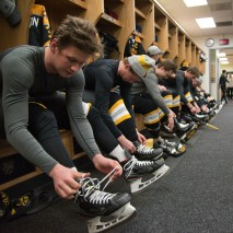 Joshua Birndorf 2/7/2020 Colorado College hockey players get ready for their big game against Minnesota St. Cloud. This is the first time they've seen their new jerseys.
