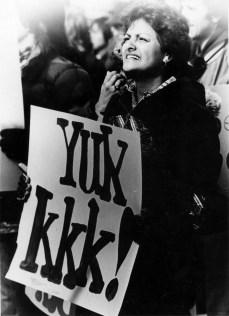 Students protest the KKK, 1979.