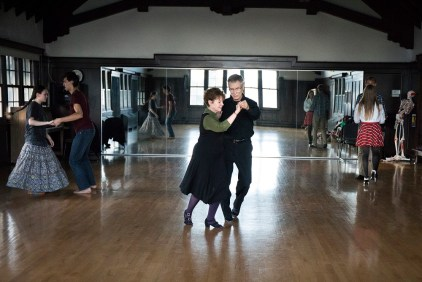 Marcia Dobson and J.L. Riker teach a ballroom dancing class in Cossett Hall that is open to students and staff alike. The class focuses on dance techniques for various dance styles. Soren Kodak and Greta Wu follow along with classmates Joel Frykholm and Haley Kolgate (right). (Photo by Jennifer Coombes)