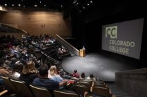Students attended Winter Start Orientation discussions and welcomes at Cornerstone Arts Center where President Jill Tiefenthaler and CCSGA president Ethan Greenberg welcomed students.