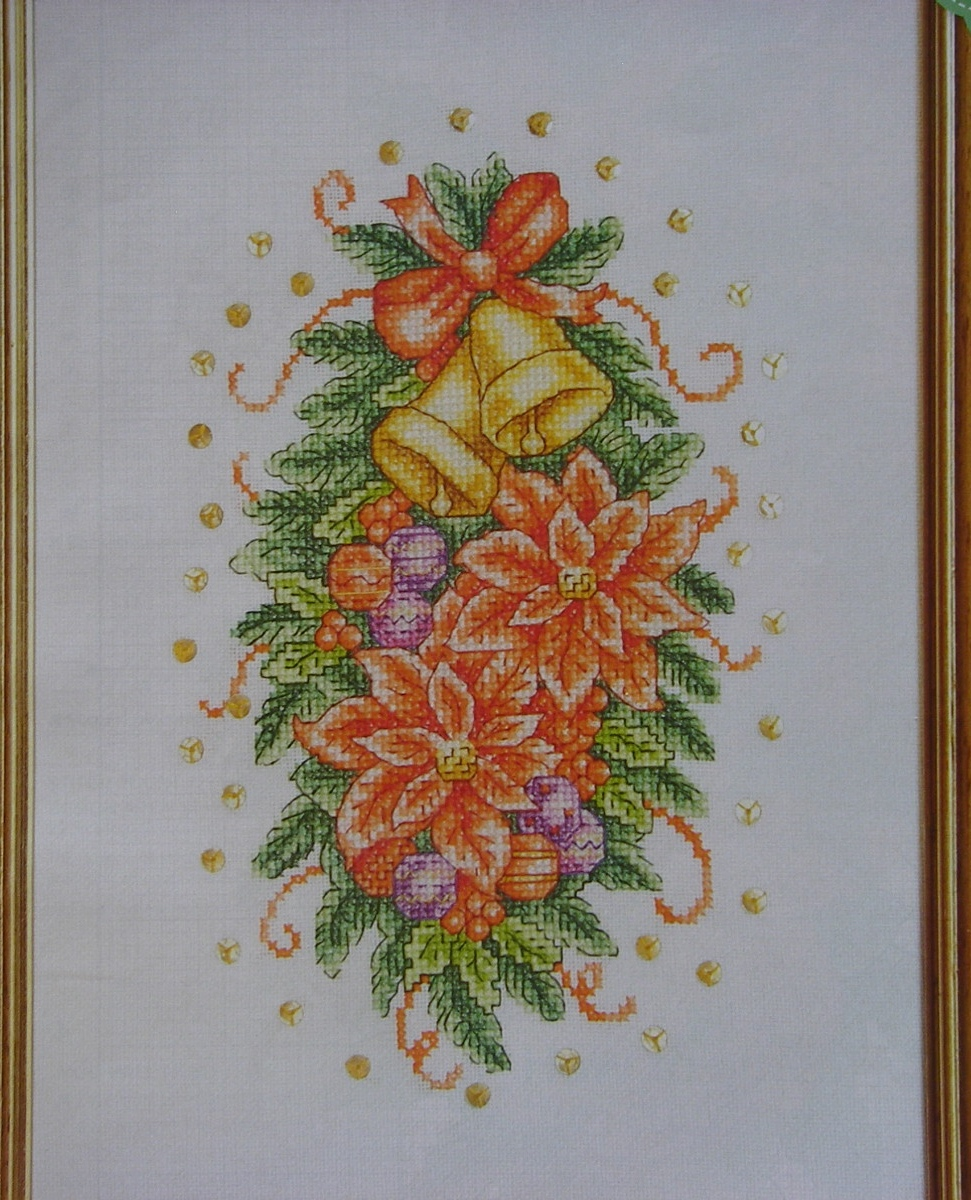 Poinsettia Flowers Christmas Bells Baubles Cross Stitch