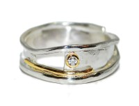 Unique and unusual handmade silver with gold diamond ...