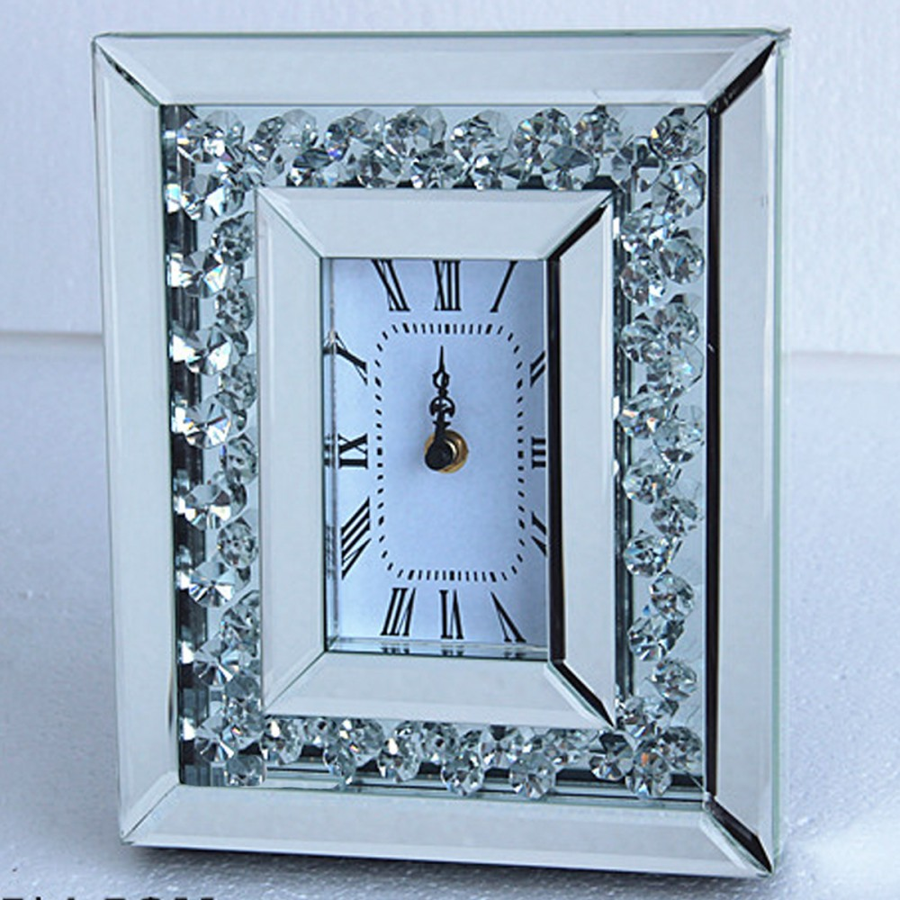 Floating Crystals Mirrored Clock 26cm x 21cm