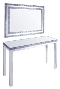 Silver Mirrored Console Table with smoked crystal border ...