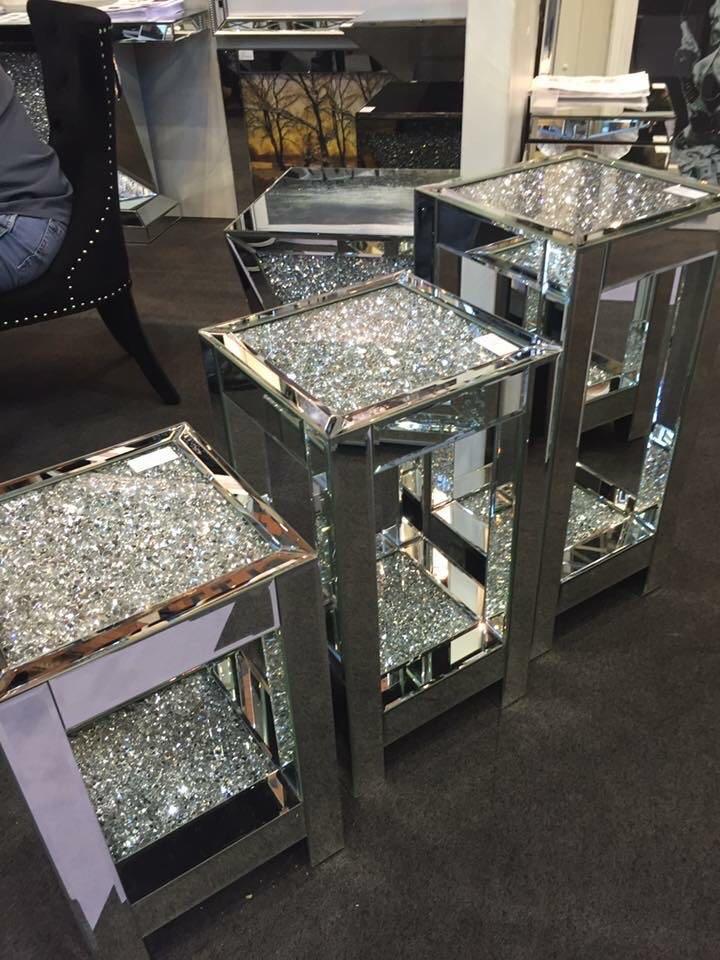 Diamond Crush Sparkle Crystal Mirrored Lamp Table Large