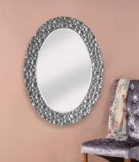 stunning silver ripple large framed decorative oval mirror ...