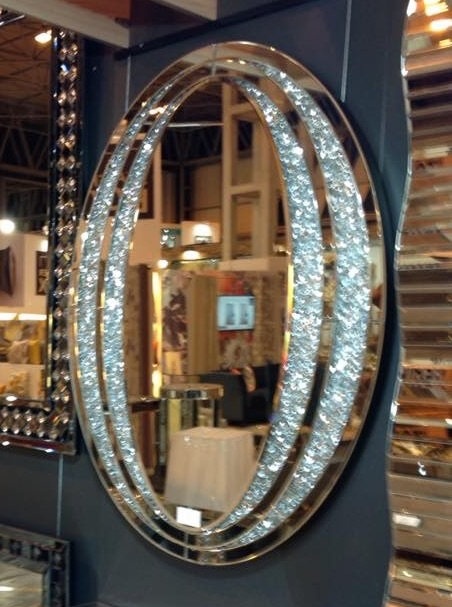New Crush Crystal Sparkle Oval Wall Mirror