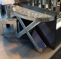 "*Diamond Crush crystal Sparkle Curved ""X"" Console Table"