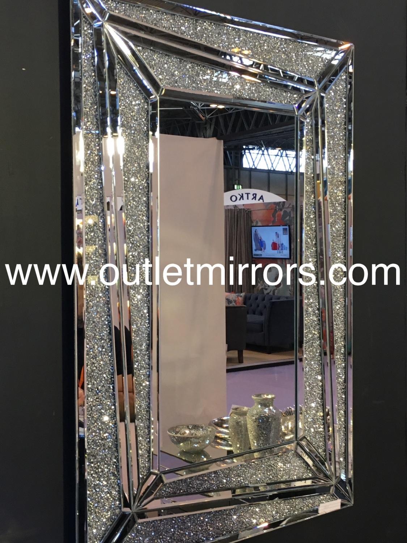 New Diamond Crush Sparkle Marissa Wall Mirror 120cm x 80cm