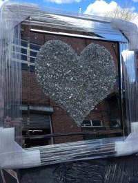 """Mirror framed Sparkle Glitter Art """"Silver Heart Cluster"""