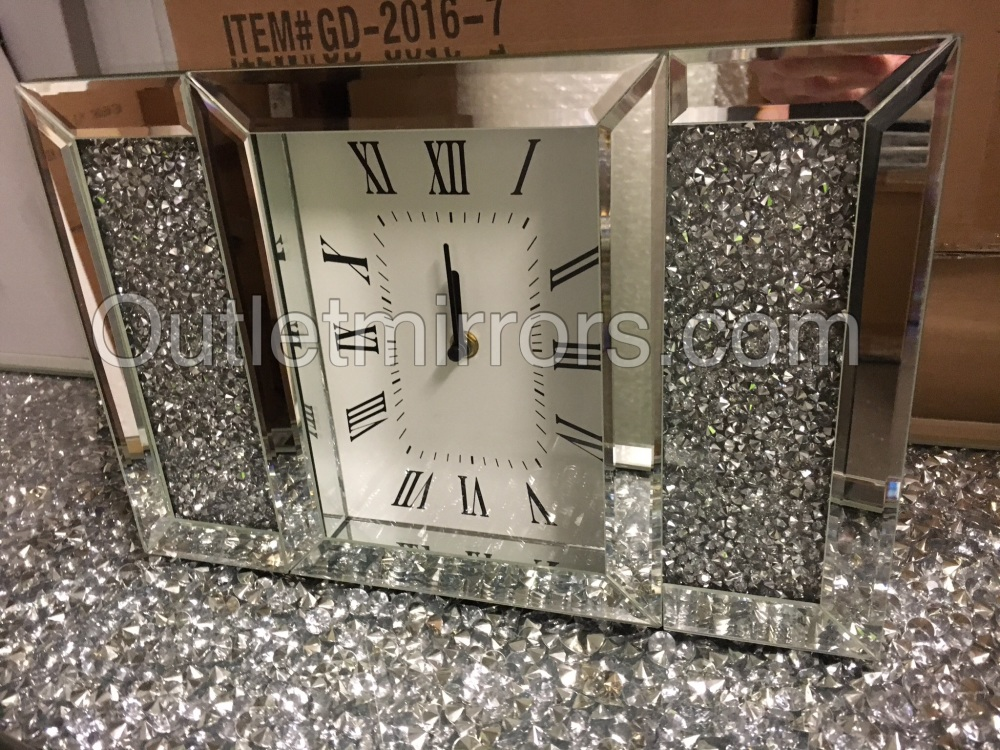 New Diamond Crush Sparkle Crystal Mirrored Mantle Clock item in stock