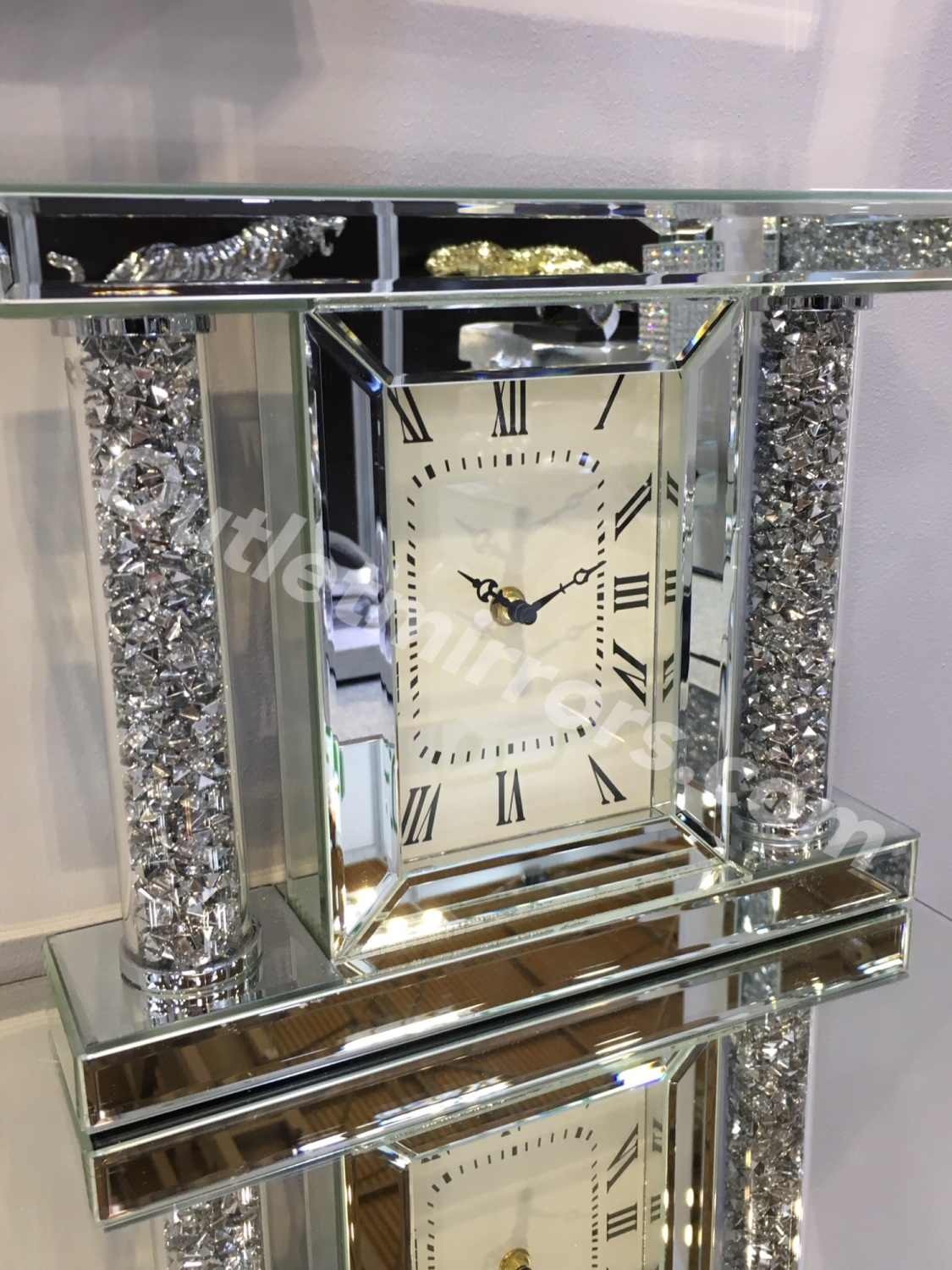 White Wall Clock Large * New Diamond Crush Sparkle Crystal Mirrored Pillar Mantle